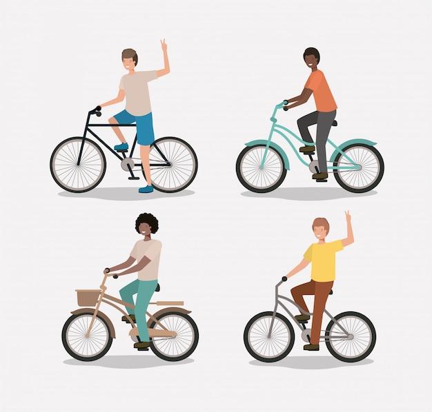 Группа мужчин на велосипеде