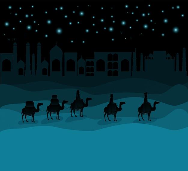 Мудрецы, путешествующие на пустынной рождественской сцене