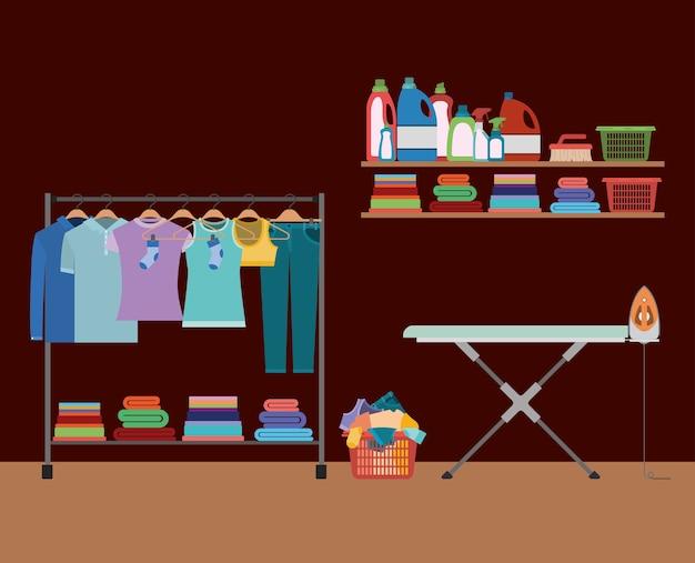 テーブルと衣服の鉄のハンガーで服