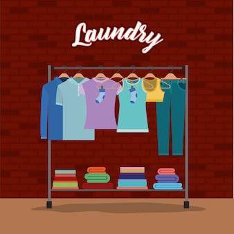 レンガ、壁、背景、衣類、ハンガー、タオル、ダウン