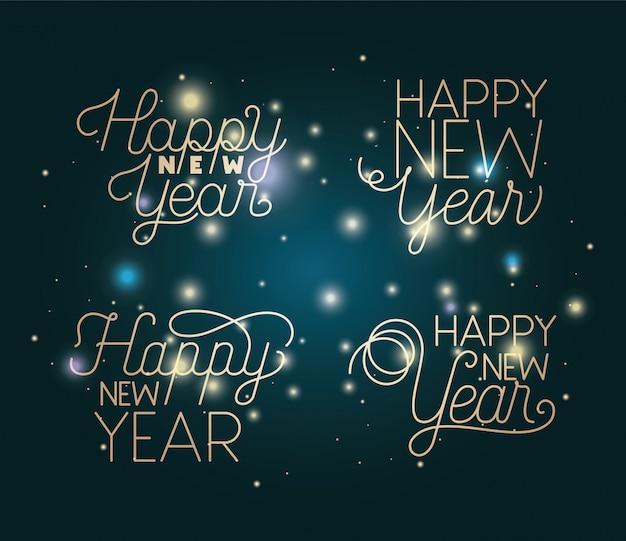 ライト付きの幸せな新年のレタリング