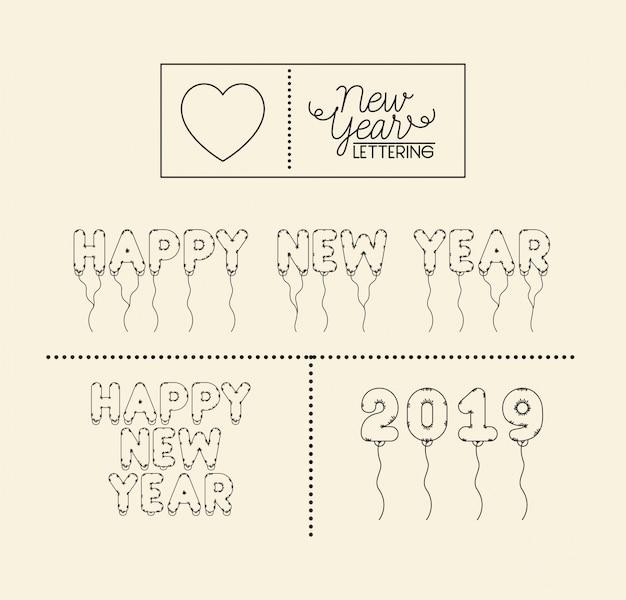 幸せな新年のレタリングカード