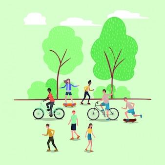 公園でスポーツをする人々