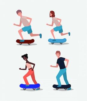 スケートボードの人々のグループ