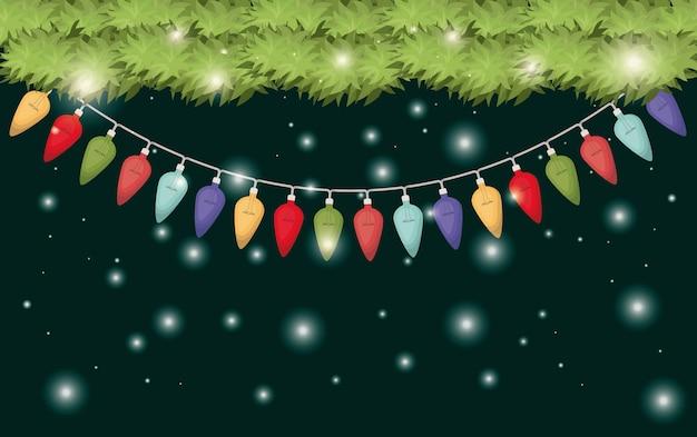 クリスマスライトが飾られた花輪