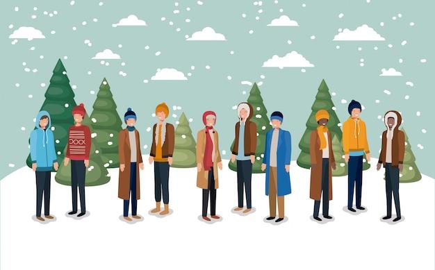 冬の服を着た雪景色の男性グループ