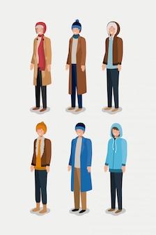 冬の服を着た男性のグループ