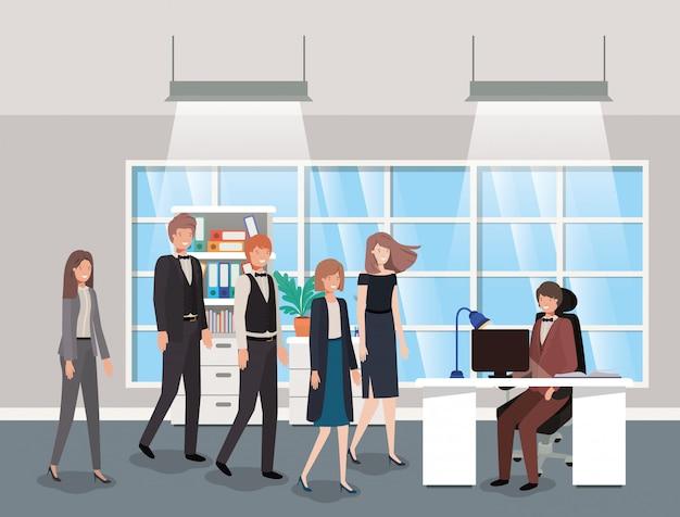 ビジネスマンとの現代的なオフィス
