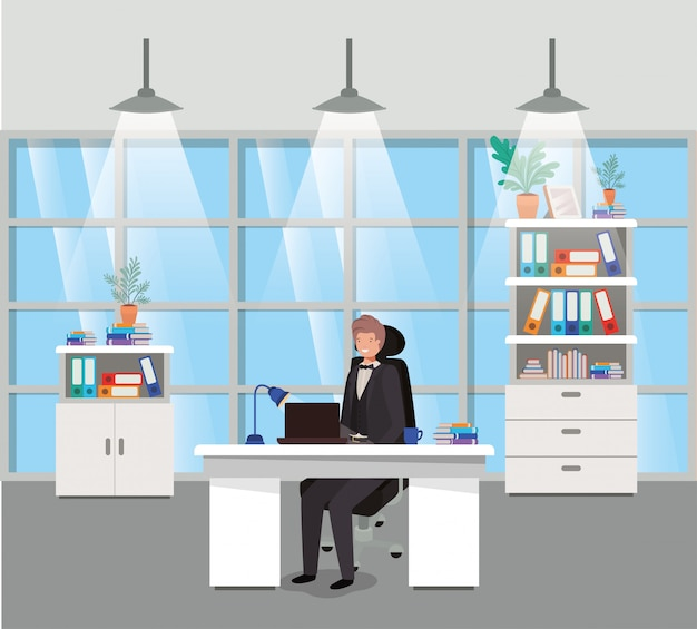 ビジネスマンに座っている現代的なオフィス