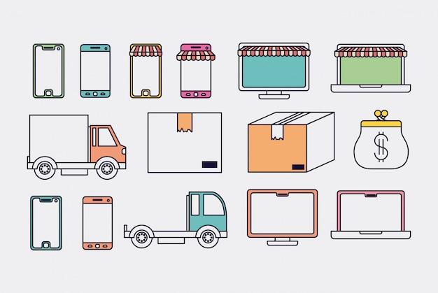 電子商取引はアイコンイラストのデザインを設定