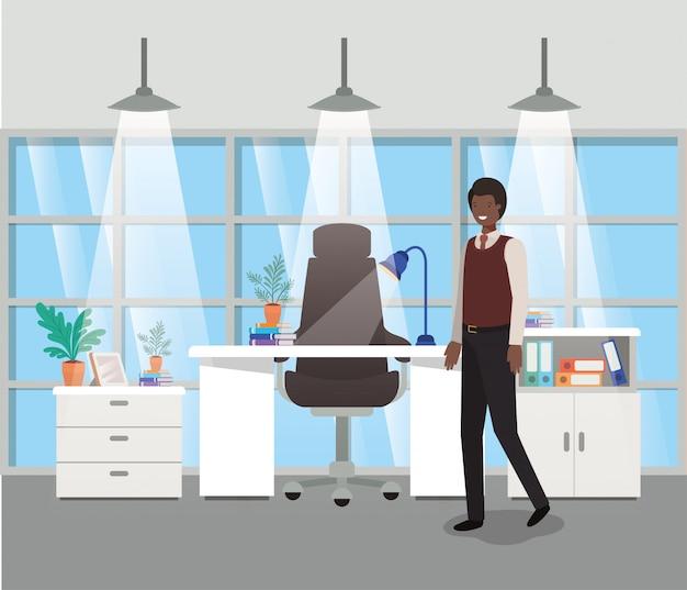 黒の実業家と現代的なオフィス