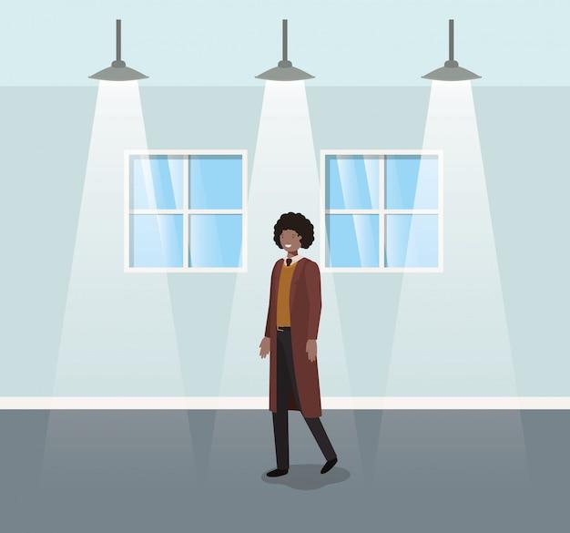 歩く黒い実業家と廊下