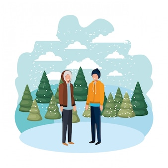 Мужчины с зимней одеждой и зимними соснами