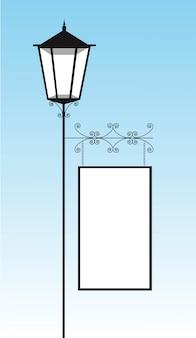Черная лампа улице с копией пространства на фоне неба векторной иллюстрации