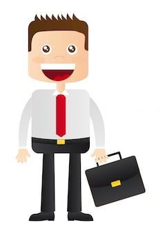 黒のスーツケースのベクトル図でビジネスマン