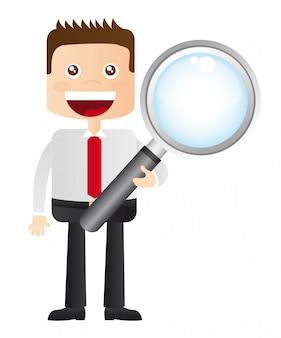 白い背景ベクトル上の虫眼鏡と実業家