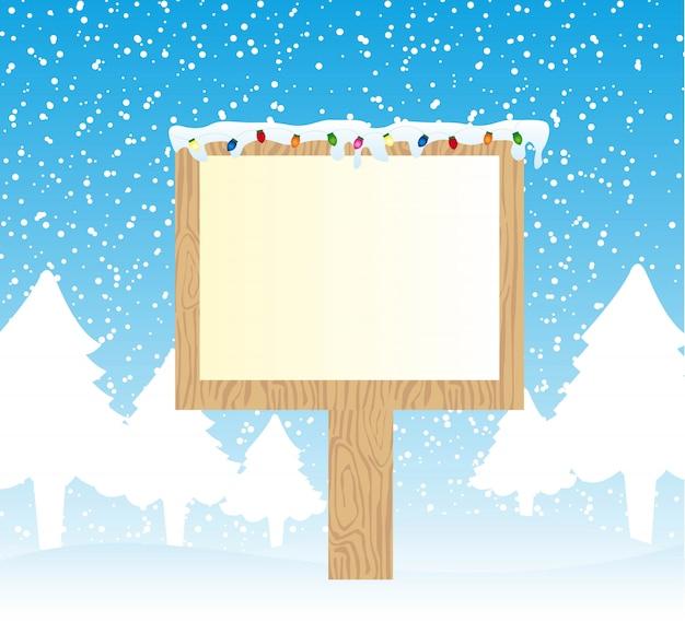 光のメリークリスマスベクトルと雪の上に木製の標識