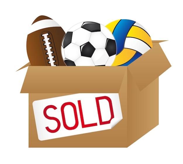白い背景のベクトル上に隔離されたボールとの販売されたボックス