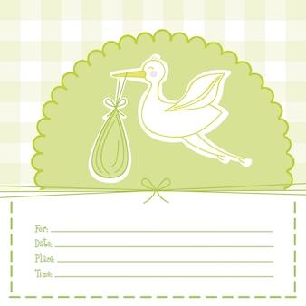 緑のベビーシャワーカード、ストローク、ベクトル、イラスト