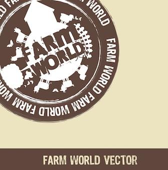 ベージュの背景ベクトルの上に茶色の農場の世界のスタンプ