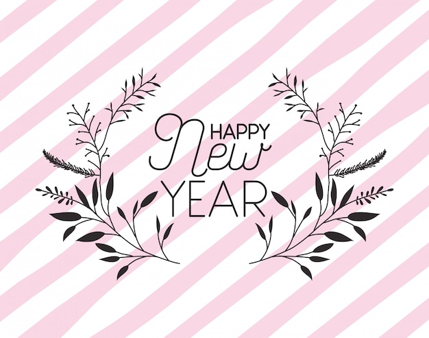 幸せな新年のレタリングと花輪の王冠とフレーム