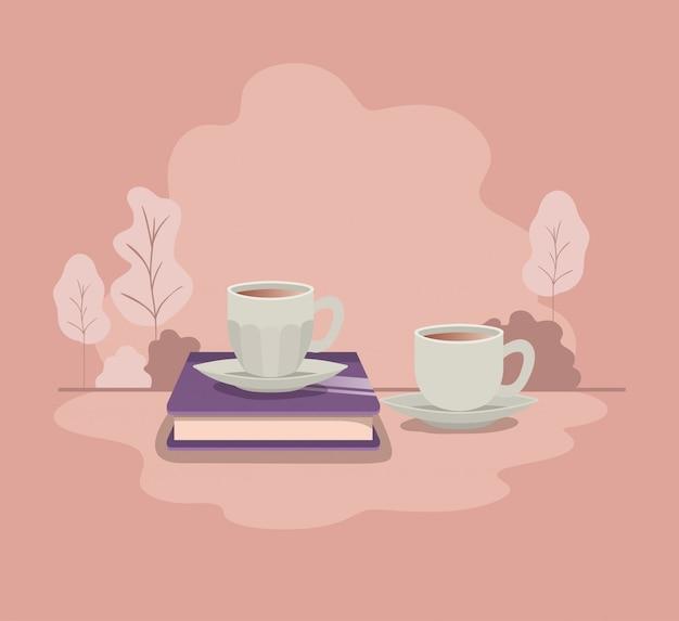 本のアイコンとコーヒーのカップ