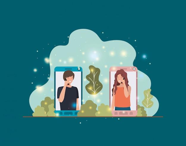 風景のスマートフォンのカップル