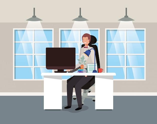 ビジネスマンに座っている現代オフィス