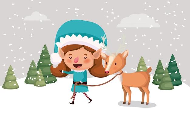 雪景色でトナカイとかわいい女の子のサンタヘルパー