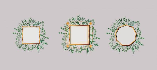 幾何学のゴールデンフレームのセットと葉
