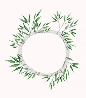 月桂樹の葉が付いた円形のフレーム