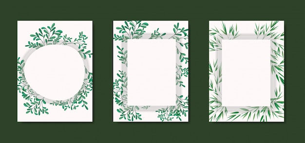 幾何学的なフレームと月桂樹の葉を持つカード
