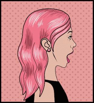 ピンクの髪のポップアートスタイルの女性