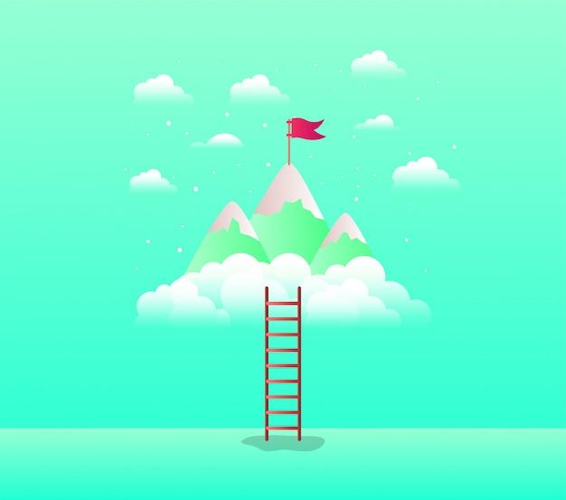 Горы с флагом с лестницей