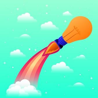 電球で始動するロケット