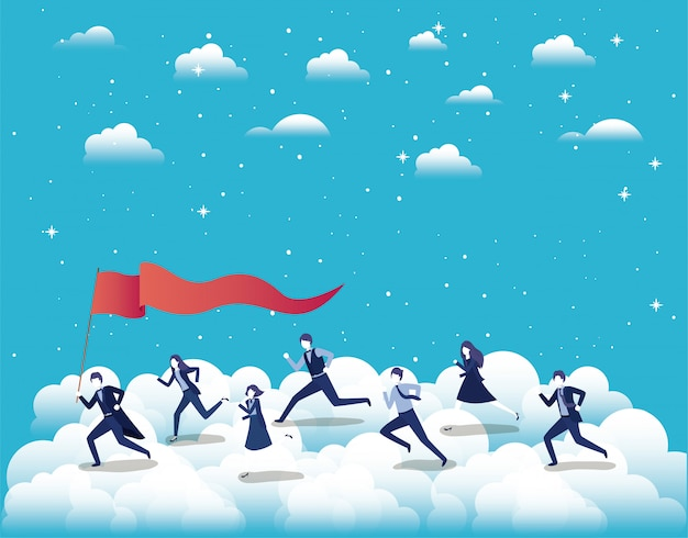 空に旗を立てて競り合うビジネスの人々