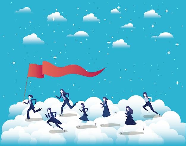 空中で競争する経済人