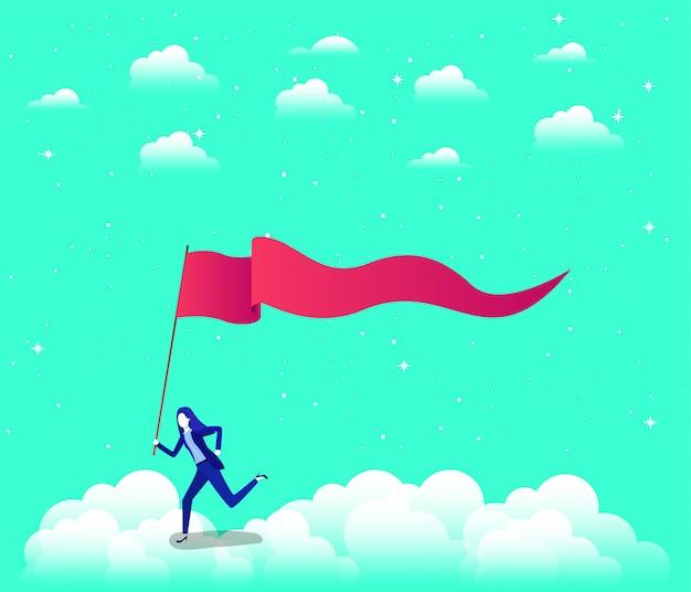 空で競合する旗を持つ実業家