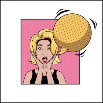 Блондинка с речевым пузырем в стиле поп-арт