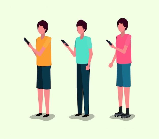 スマートフォンを使用している若者のグループ