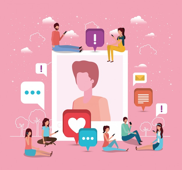 男のプロフィール画像を持つ社会的コミュニティ