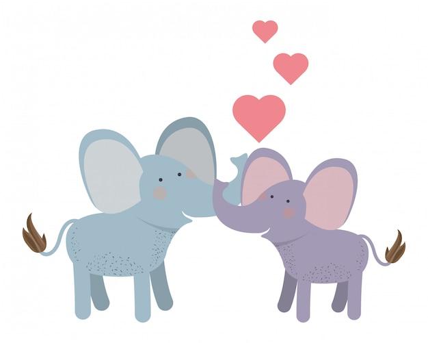 Милая пара слонов с сердечками