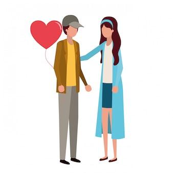 Пара, держась за руки с характером сердца