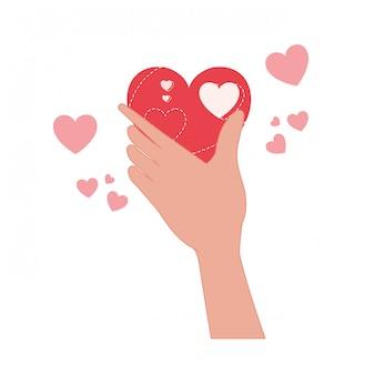 手の愛の心の分離アイコンを持ち上げる