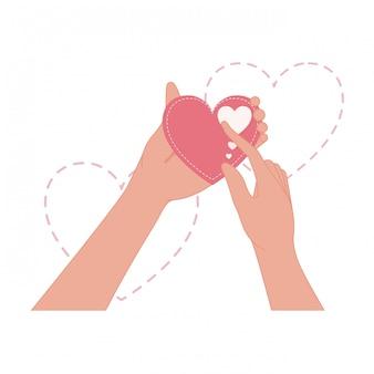 Руки, подняв любовь сердце изолированных значок
