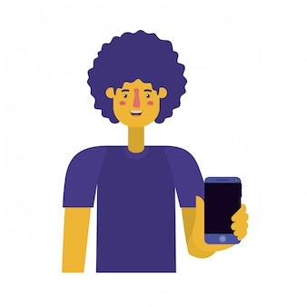 アフロとスマートフォンを持つ若者