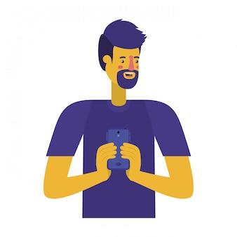 ひげとスマートフォンを持つ若者
