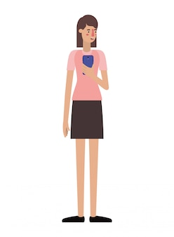 スマートフォンを持つ若い女