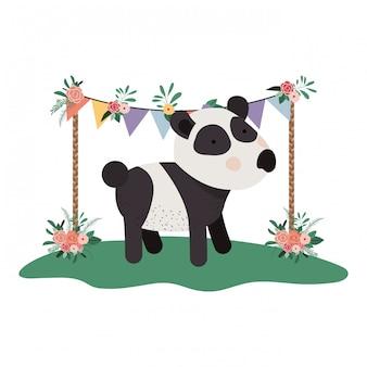 花のフレームとかわいいと愛らしいパンダ