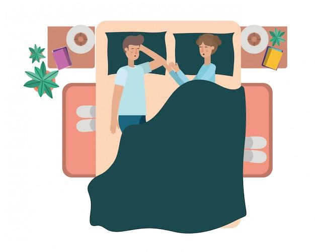 Молодая пара в постели аватар персонажа